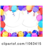 Clipart 3d Frame Of Colorful Birthday Balloons Royalty Free CGI Illustration