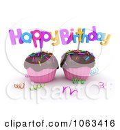 Clipart 3d Happy Birthday Cupcakes Royalty Free CGI Illustration by BNP Design Studio