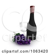 3d Grapes Wine Bottle And Glass