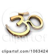 Clipart 3d Gold Hindu Symbol Royalty Free CGI Illustration