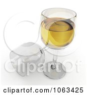 Clipart 3d White Wine And Glasses Royalty Free CGI Illustration