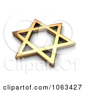 Clipart 3d Gold Judaism Star Royalty Free CGI Illustration
