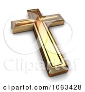 Clipart 3d Gold Cross Royalty Free CGI Illustration