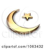 Clipart 3d Gold Islam Symbol Royalty Free CGI Illustration