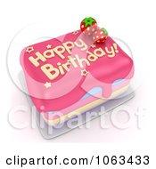 Clipart 3d Straberry Birthday Cake Royalty Free CGI Illustration
