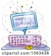 Clipart Computer Birthday Cake Royalty Free Vector Illustration
