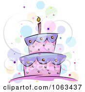 Clipart Purple And Pink Birthday Cake Royalty Free Vector Illustration