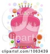 Clipart Pink Lolipop Birthday Cake Royalty Free Vector Illustration
