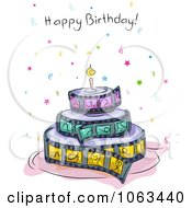 Clipart Film Strip Birthday Cake And Greeting Royalty Free Vector Illustration by BNP Design Studio