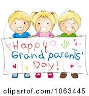 Clipart Kids Holding A Happy Grandparents Day Banner Royalty Free Vector Illustration