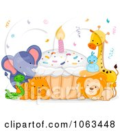 Clipart Birthday Animals With A Cupcake Royalty Free Vector Illustration by BNP Design Studio