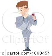 Clipart Handsome Man Holding Red Wine Royalty Free Vector Illustration