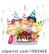 Clipart Birthday Kids Around A Cake Royalty Free Vector Illustration by BNP Design Studio