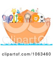 Clipart Noah And Animals On The Ark Royalty Free Vector Illustration by BNP Design Studio