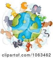 Clipart Animals Around The Earth Royalty Free Vector Illustration by BNP Design Studio