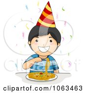 Clipart Birthday Boy Eating Spaghetti Royalty Free Vector Illustration by BNP Design Studio
