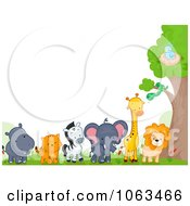 Clipart Border Of Wild Animals By A Tree Royalty Free Vector Illustration by BNP Design Studio