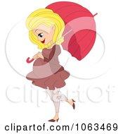 Pretty Pregnant Woman Walking With An Umbrella