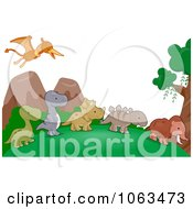 Clipart Dinosaur Background Royalty Free Vector Illustration by BNP Design Studio