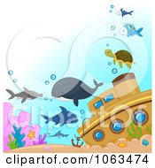 Clipart Sea Creatures By A Sunken Ship Royalty Free Vector Illustration by BNP Design Studio