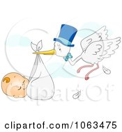 Clipart Sleeping Baby Being Carried By A Stork Royalty Free Vector Illustration