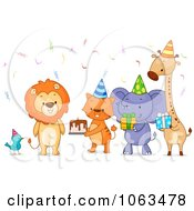 Clipart Birthday Party Animals With Cake And Gifts Royalty Free Vector Illustration by BNP Design Studio