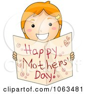 Clipart Girl Holding A Happy Mothers Day Card Royalty Free Vector Illustration