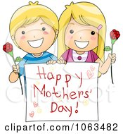 Clipart Boy And Girl Holding A Happy Mothers Day Sign Royalty Free Vector Illustration