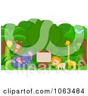 Clipart Jungle Animals Around A Sign Royalty Free Vector Illustration