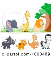 Clipart Wild Animal Borders Digital Collage Royalty Free Vector Illustration by BNP Design Studio