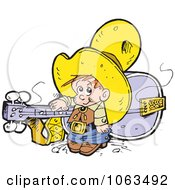 Clipart Little Cowboy And Giant Guitar Royalty Free Vector Illustration