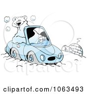 Clipart Polar Bear Driving By An Igloo Royalty Free Vector Illustration by Johnny Sajem