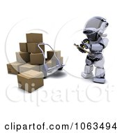 Clipart 3d Robot Documenting Shipments Royalty Free CGI Illustration