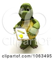 Clipart 3d Tortoise Requesting A Signature Royalty Free CGI Illustration by KJ Pargeter