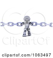 Clipart 3d Robot Holding Two Chains Royalty Free CGI Illustration