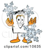 Clipart Picture Of A Paper Mascot Cartoon Character With Three Snowflakes In Winter