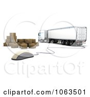 Clipart 3d Truck Computer Mouse And Boxes Royalty Free CGI Illustration