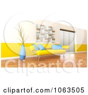 3d Yellow Sofa In A Modern Interior