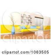 3d Yellow Sofa In A Modern Interior