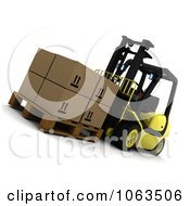 3d Forklift And Boxes