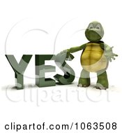 Clipart 3d Tortoise Standing By YES Royalty Free CGI Illustration