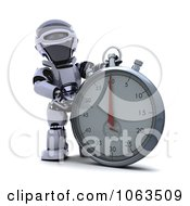 Clipart 3d Robot By A Stopwatch Royalty Free CGI Illustration by KJ Pargeter