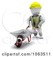 Clipart 3d White Character Construction Worker Using A Wheelbarrow Royalty Free CGI Illustration