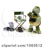 Clipart 3d Tortoise Using A Clapper Board Royalty Free CGI Illustration