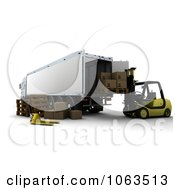 Clipart 3d Forklift Loading A Big Rig Royalty Free CGI Illustration by KJ Pargeter