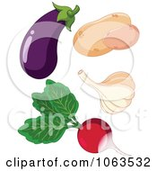 Clipart Eggplant Potatoes Garlic And Radish Digital Collage Royalty Free Vector Illustration by Pushkin