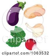 Eggplant Potatoes Garlic And Radish Digital Collage