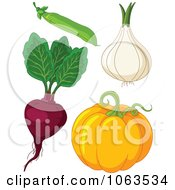 Clipart Pea Onion Beet And Pumpkin Digital Collage Royalty Free Vector Illustration by Pushkin
