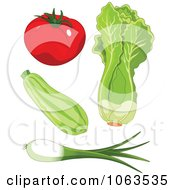 Clipart Tomato Zucchini Lettuce And Green Onion Digital Collage Royalty Free Vector Illustration by Pushkin