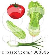 Tomato Zucchini Lettuce And Green Onion Digital Collage